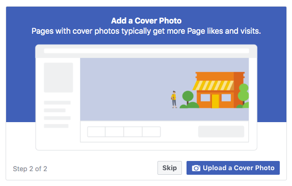 Facebook business page creation upload photos