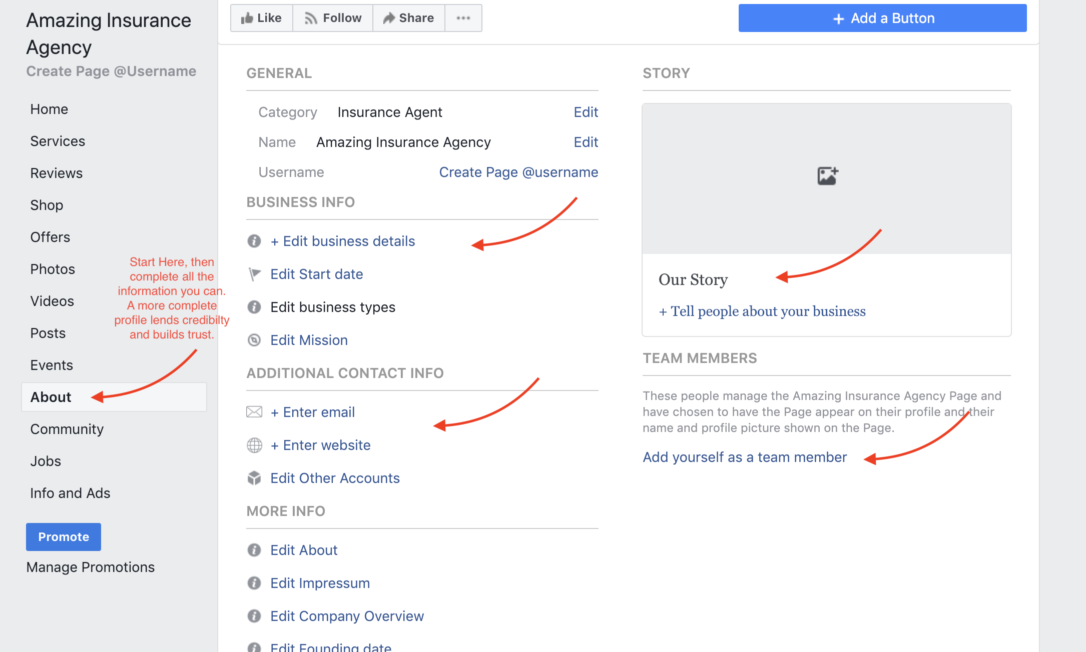 Facebook page creation about section